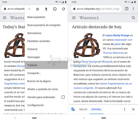 Chrome 74 for Android: direct access to the translation of websites