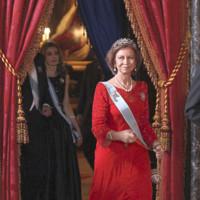 La reina Doña Sofía en la recepción al presidente de Vietnam (2009)