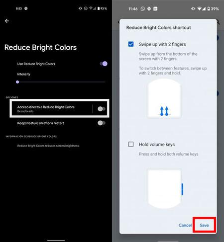 Gesto para activar la atenuación de colores brillantes en Android 12