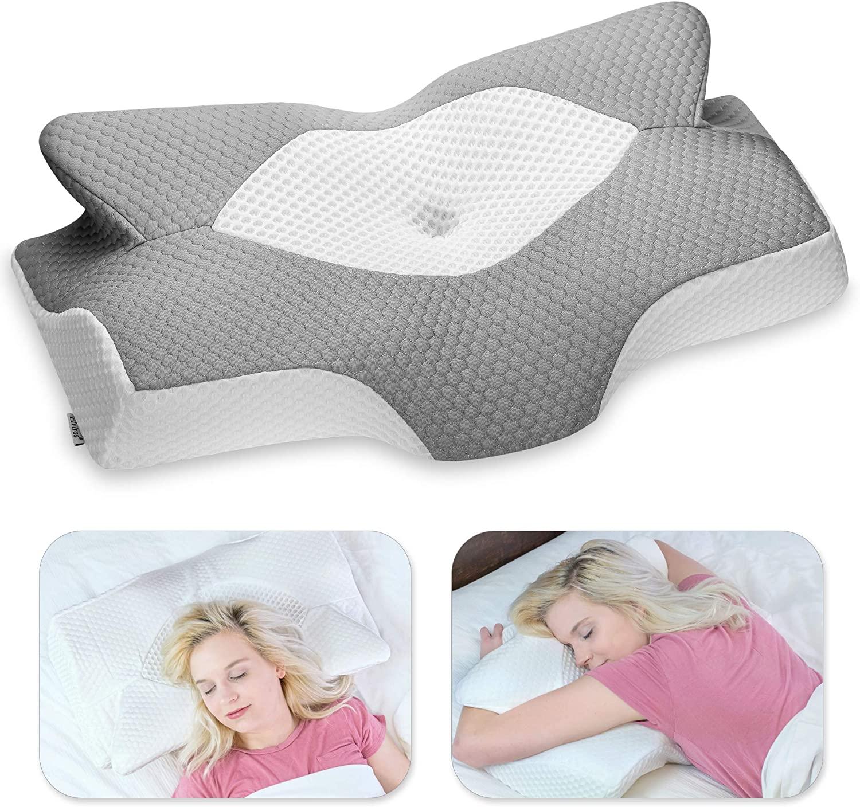 Elviros Almohada de Espuma con Memoria de Contorno Cervical para el Dolor de Cuello, Almohadas para Cuello (Gris, 64 x 12,5/10,5 x 42 cm)