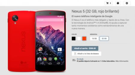 Nexus 5 Rojo listo a la venta en Google Play