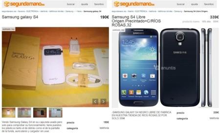 Ejemplo de anuncios de venta de Samsung Galaxy S4