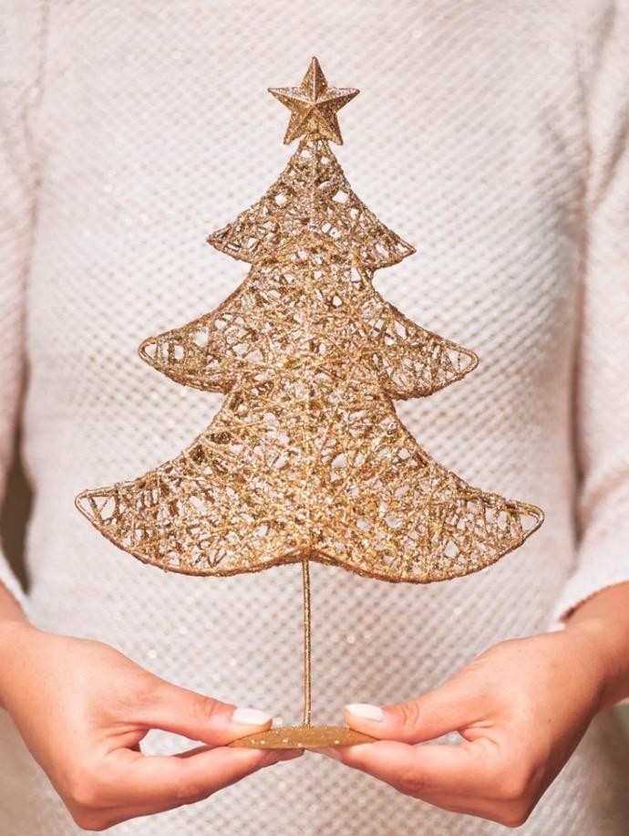 Figura de árbol navideño dorado Alt.30