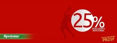 Sprinter nos da un 25 % de descuento en tus compras durante tres días