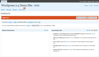 Demo de Wordpress 2.5