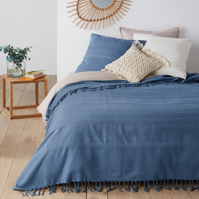 Cubrecama con flecos, Nedo Azul orienteAzul oriente+ 8 Colores Talla 180 x 230 cm