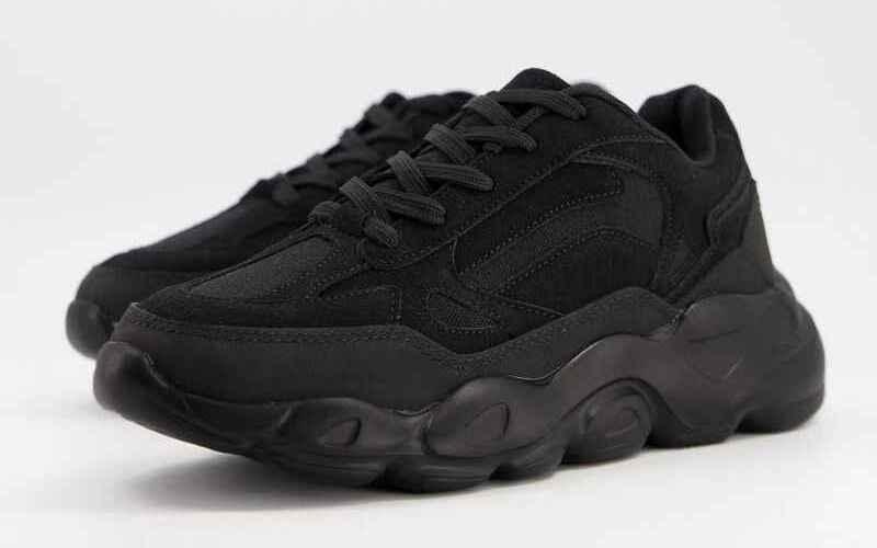 Zapatillas de deporte negras con suela gruesa de ASOS DESIGN