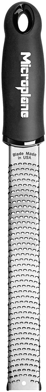 Microplane Zester Rallador, Acero Inoxidable, Negro, 32.50x3.5x2.56 cm