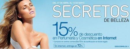 15% de descuento en perfumería, cosmética y parafarmacia en El Corte Inglés