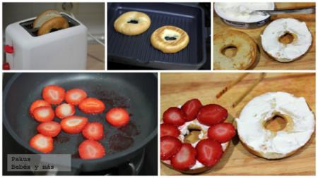 Bagels Fresas Desayuno Pasos