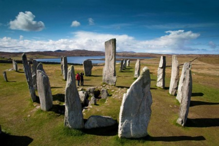 Calanais Standing Stones Couple Beautiful Day