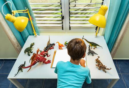 niño fan de los dinosaurios
