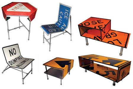 Recicladecoración: convierte en muebles antiguas señales de tráfico