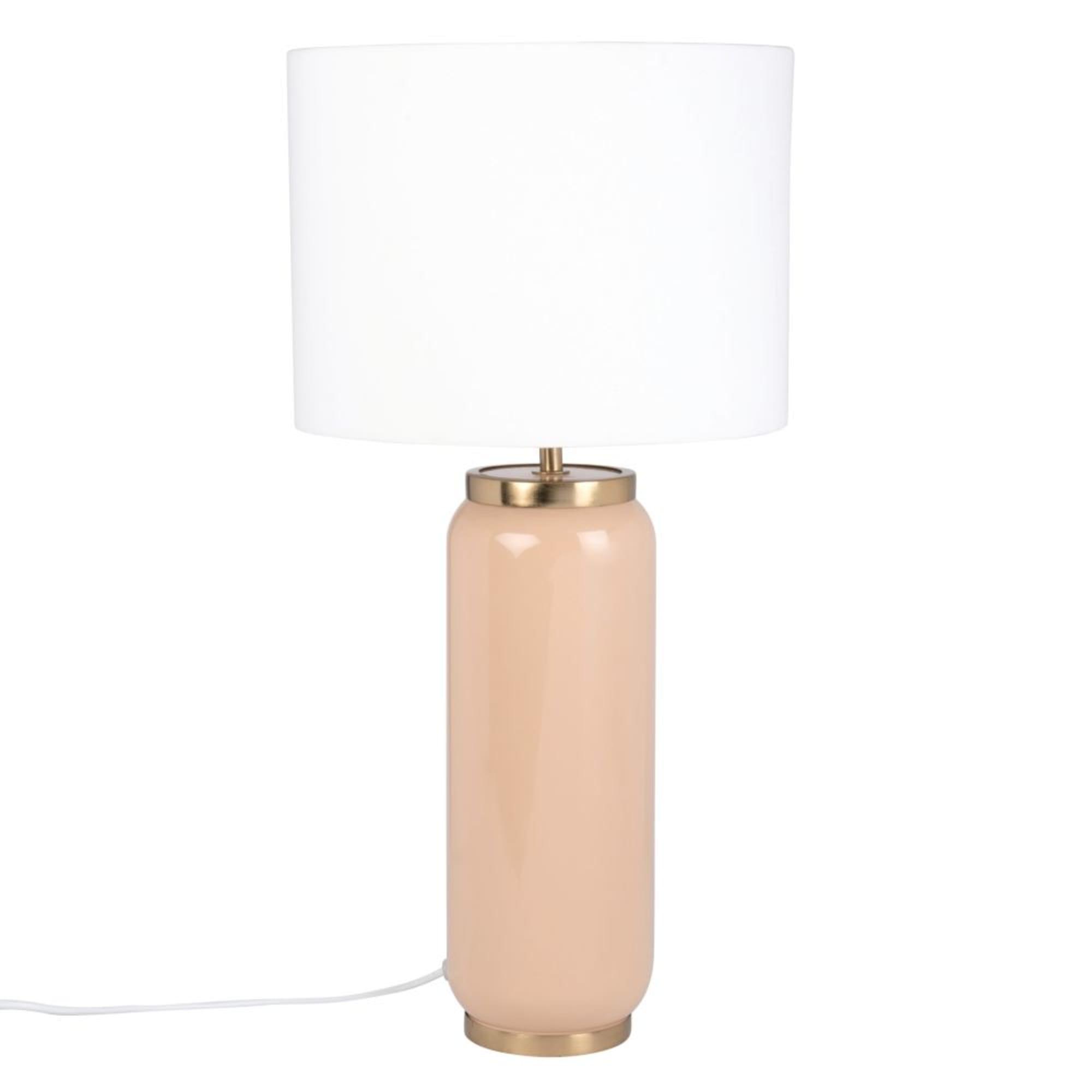 Lámpara de metal beige y dorado con pantalla blanca