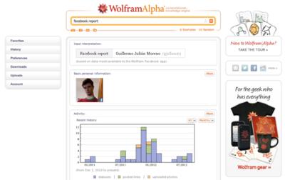 Analiza tu cuenta de Facebook con Wolfram Alpha