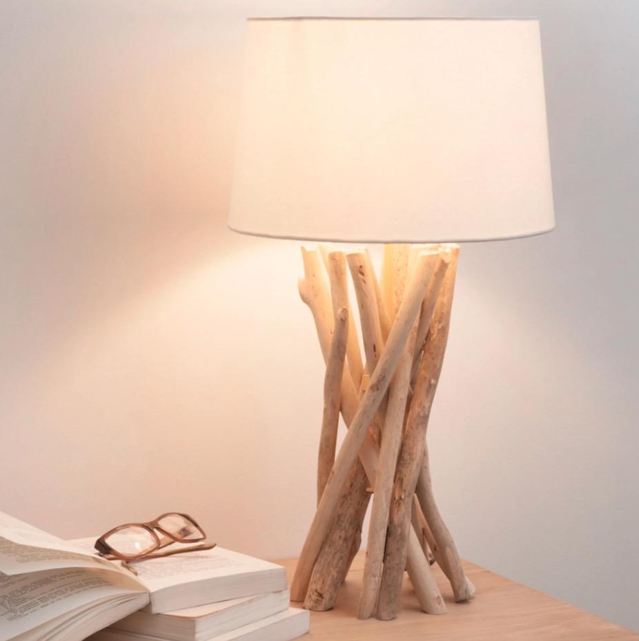 Lámpara de madera de deriva y pantalla de algodón Al. 55 cm