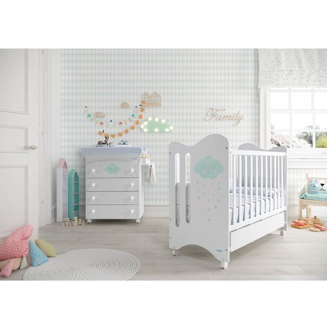 Mueble de cajones bañera y cambiador disponible en blanco con estrellas en gris
