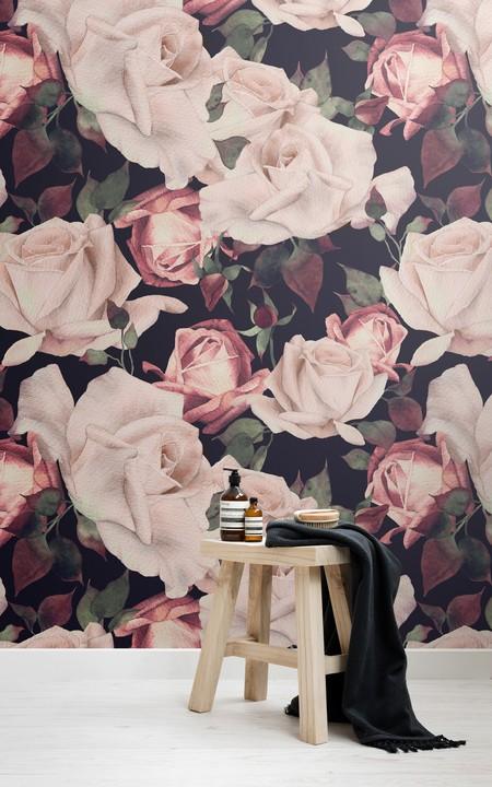 Mural De Pared Flores Acuarela Rosa Fondo Oscuro Lifestyle Hi Res
