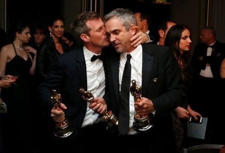 Spike Jonze y Alfonso Cuarón en el backstage