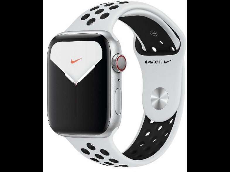 Apple Watch Nike Series 5, Chip W3, 44 mm, GPS + Cellular, Caja aluminio plata