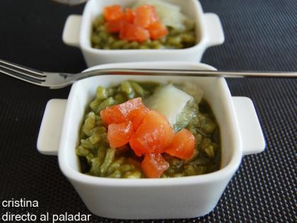 Risotto verde de espinacas. Receta