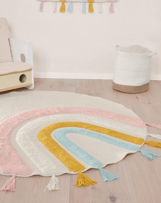 Alfombra redonda Thaide 100% algodón (GOTS) arcoíris multicolor Ø 100 cm