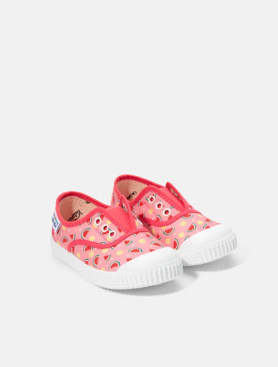 Zapatillas de lona de niña Victoria en rosa con estampado sandías