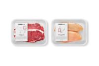 Prácticos empaques que ilustran el lugar del corte de carne