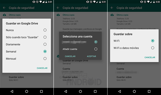 WhatsApp y Google Drive