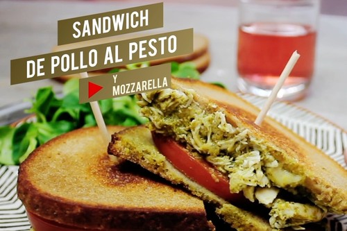Sándwich de pollo al pesto con mozzarella. Receta en video