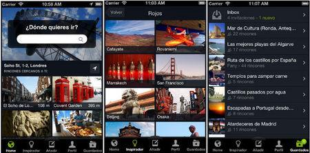Aplicaciones viajeras: Inspirador de viajes de Minube