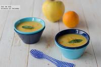 Crema de manzana al curry con zanahoria y naranja. Receta