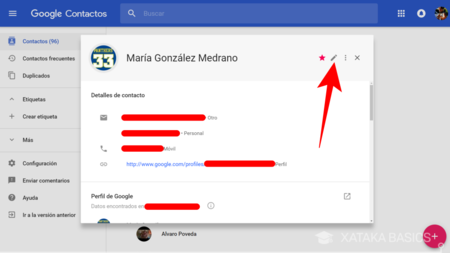 Editar Contacto Google