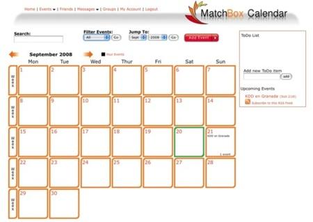 MatchBox Calendar, calendario online para nuestros planes y eventos