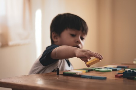 Boy Holding Block Toy 1598122