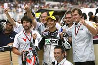 Hiroshi Aoyama con Honda, último Campeón del Mundo de la historia de 250 c.c tras la victoria de Barberá
