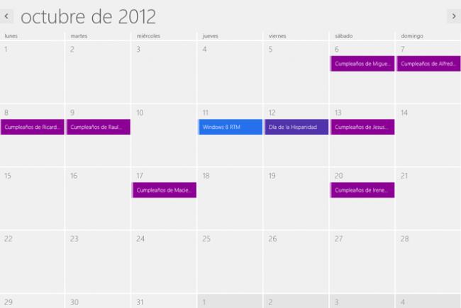 Windows 8 RTM Calendario