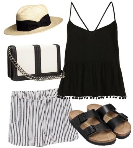 outfit en blanco y negro shorts