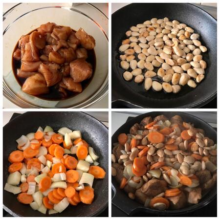 paso a paso pollo con almendras estilo chino