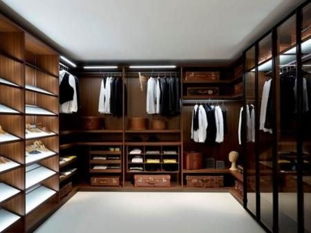 Wonderful U Shape Modern Closet Organizers With Wooden Nature Color And Tall Rack Shoes Rustic Storage Plus Hanging Shirts As Well As Lighting Design Ideas
