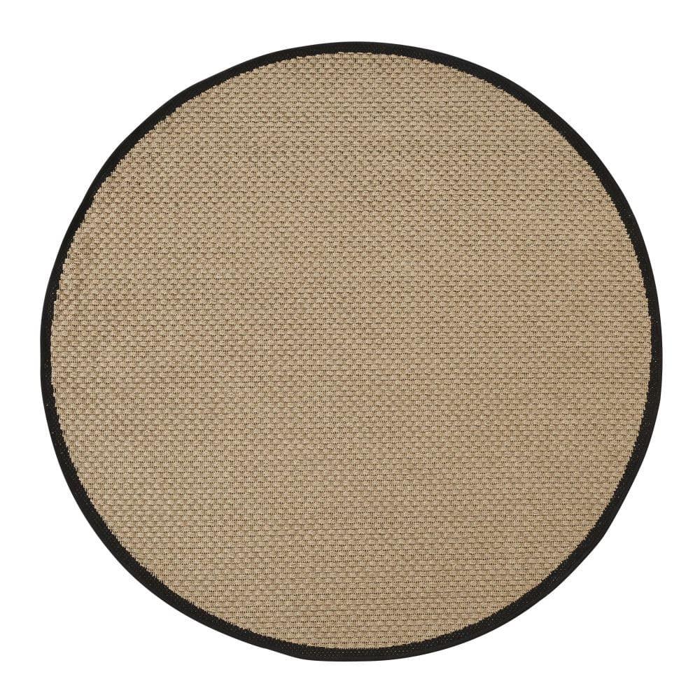 TATAO.- Alfombra de exterior redonda polipropileno tejido beige y negro D. 160