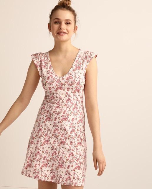 Vestido corto de flores rosas
