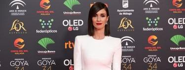 Paz Vega, guapísima en los Premios Goya 2020 con el color de la noche, el blanco