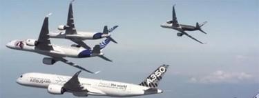 Así es la sesión fotográfica más espectacular: cinco gigantescos Airbus A350 juntos y en perfecta formación
