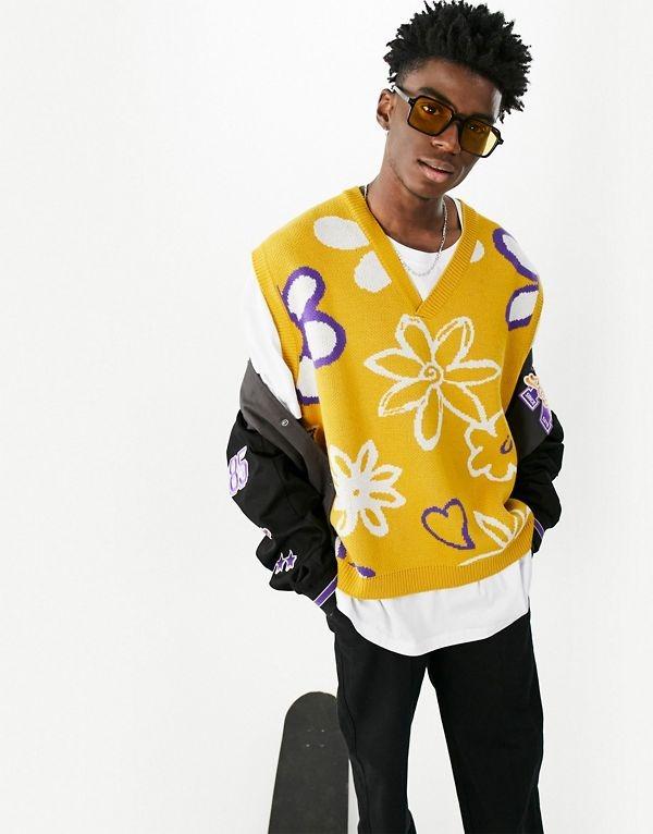 Chaleco amarillo con estampado floral de punto de ASOS DESIGN
