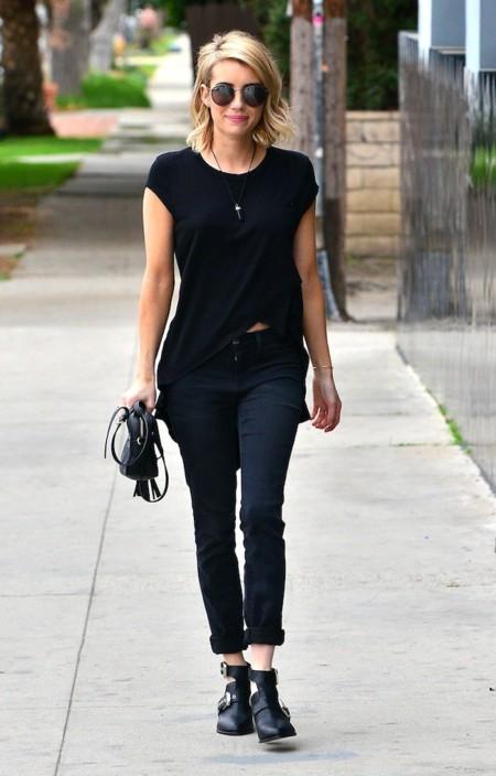 Emma Roberts Look Calle Negro