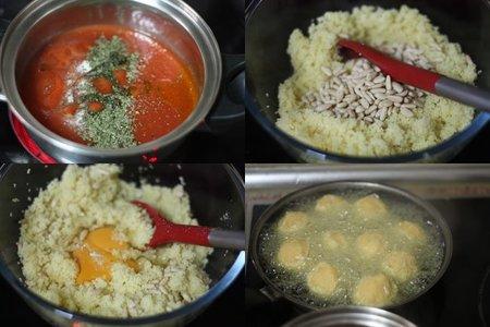 Albóndigas de cous cous con tomate. Pasos