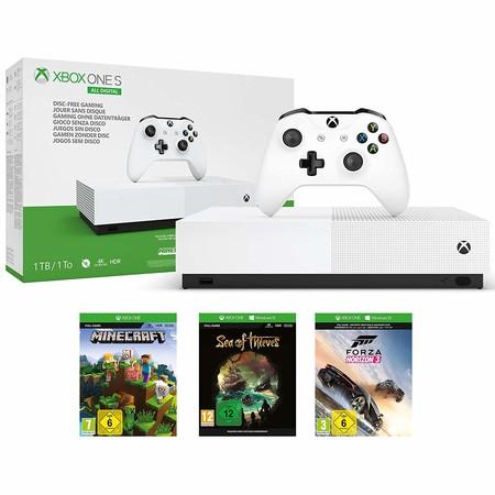Xbox One S All Digital con Fortnite, Minecraft y Sea of Thieves a 99 euros en Media Markt: el chollo del Black Friday