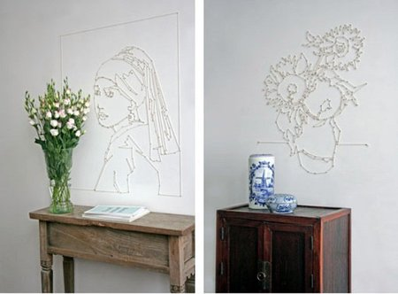 Una buena idea: dibuja con cuerdas en la pared