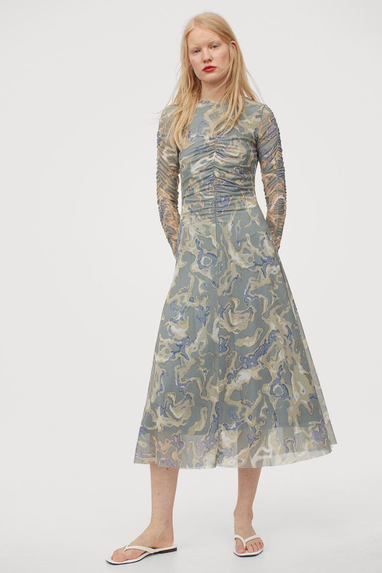 Vestido drapeado de malla